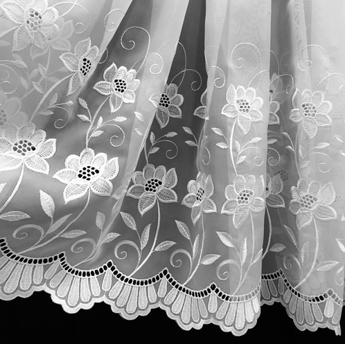 Our Rio Design Is Of The Highest Quality Voile With An Embroidered Floral Approximately 18 At Base Whereas Top
