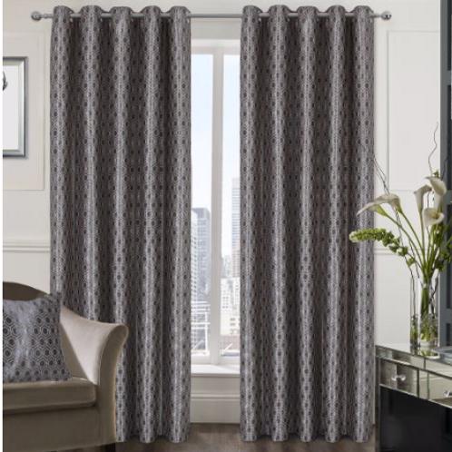 Ezra Geometric Metallic Ringtop Curtains (3 colours)