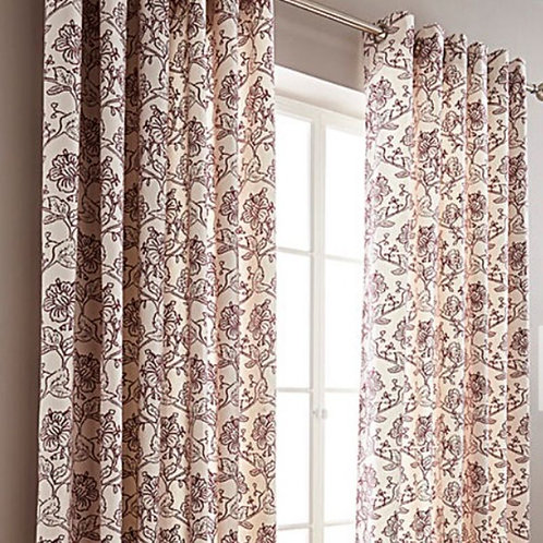 Chloe Floral Printed Lined Ring Top Curtains (4 colours)