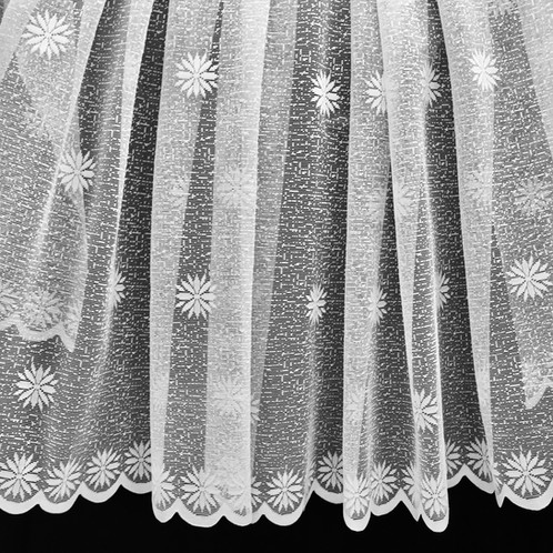 This Lace Fabric Has A Curved Scalloped Edge And Is Decorated With Pretty Symmetrical Flowers
