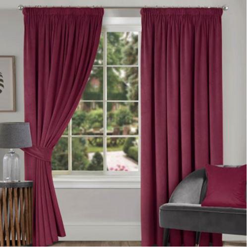 Montreal Soft Velour Lined Pencil Pleat Curtains (9 colours)