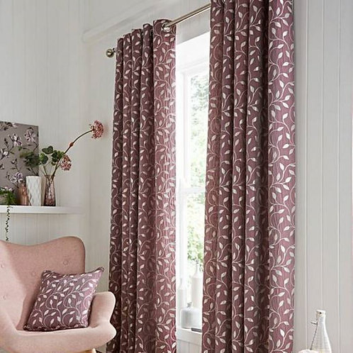 Lola Leaf Trail Lined Ring Top Curtains (4 colours)