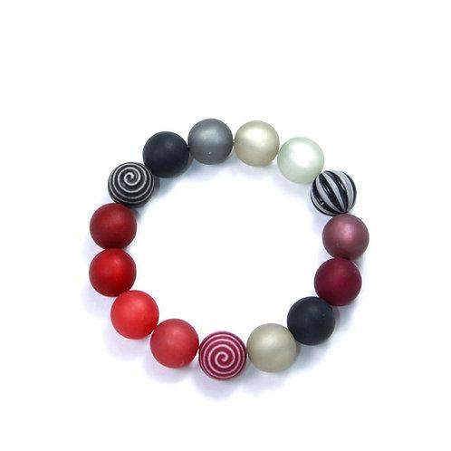 Armband Wasserballperle rot-schwarz