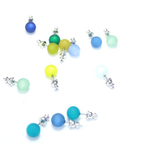Ohrstecker Kugel Blau-und Grüntöne