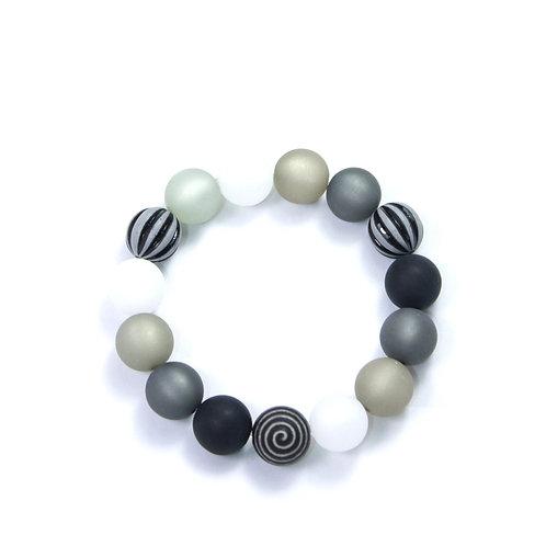 Armband Wasserballperle schwarz-weiß