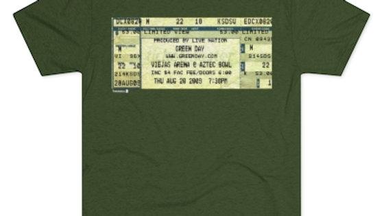 Green Day Concert Ticket  Men's Tri-Blend Crew Tee