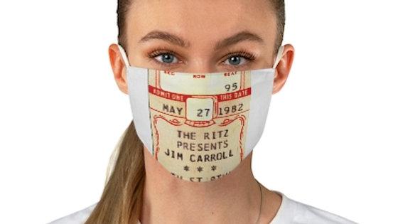 Jim Carroll Concert Ticket Face Mask