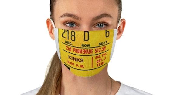 Kinks 1981 Concert Ticket Face Mask