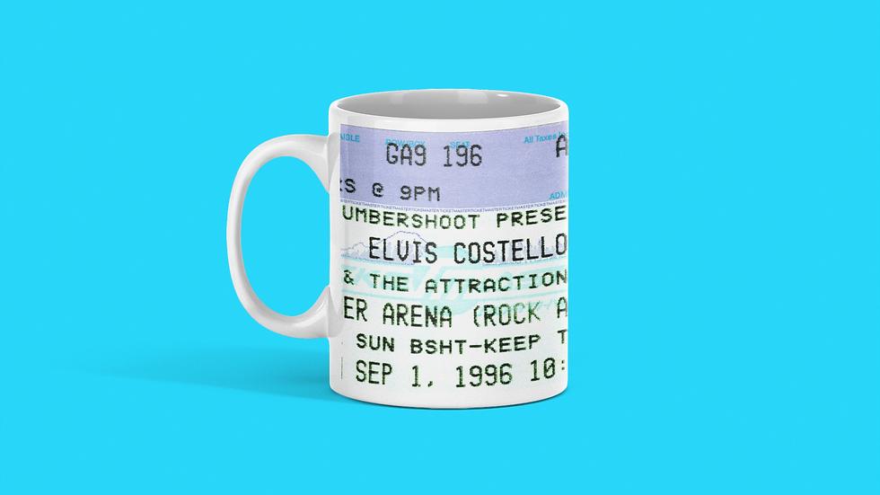 Elvis Costello Concert Ticket Mug