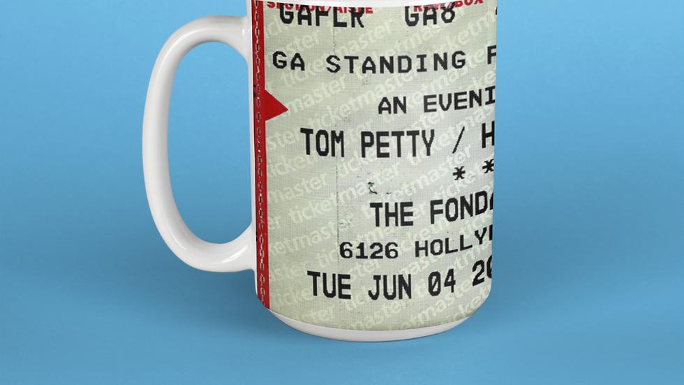 Tom Petty and The Heartbreakers Concert Ticket Stub Mug 11oz