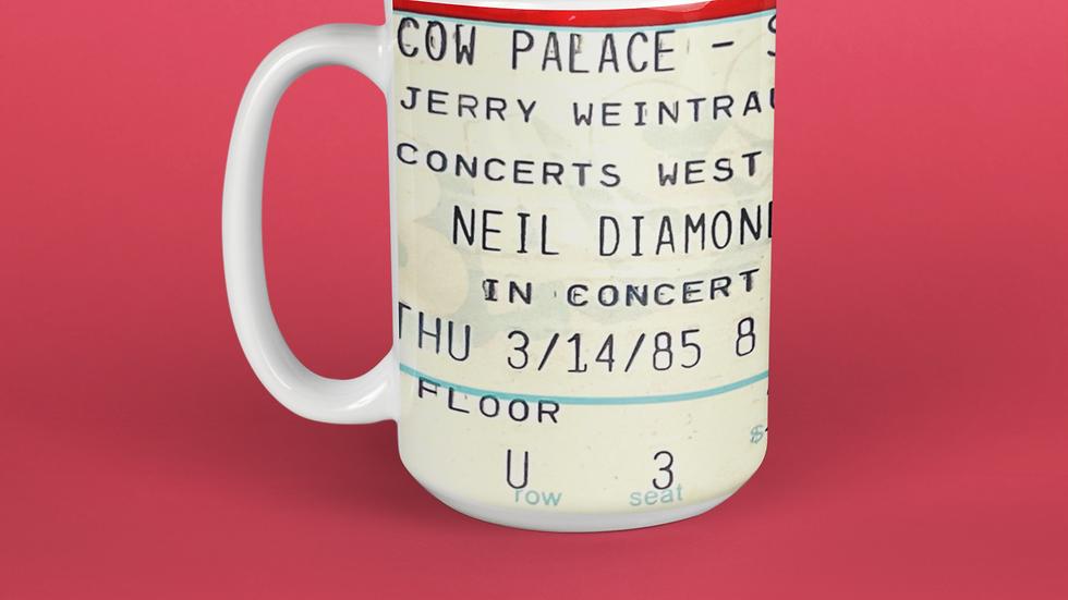 Neil Diamond Concert Ticket Stub Mug 11oz