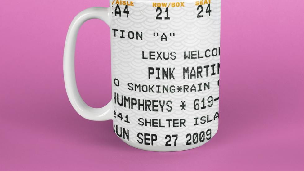 Pink Martini Concert Stub Ceramic Mug 11oz