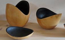 Série de bols et coupes tournés en tille