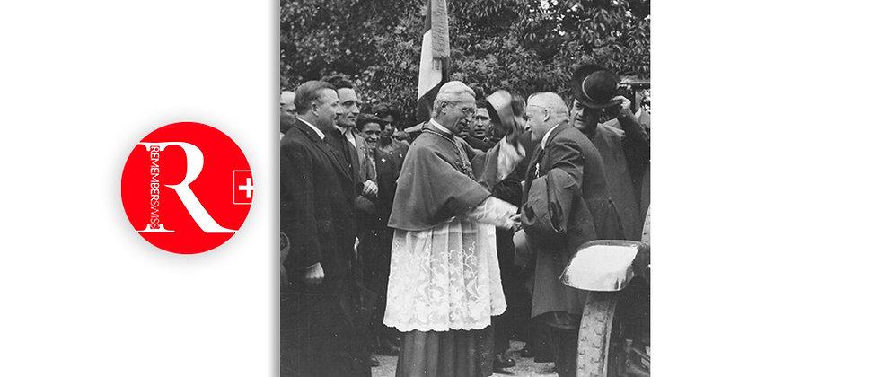 Lugano 1927 - Incontro Mons. Vescovo Aurelio Bacciarini con il consig. federale