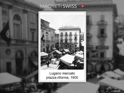 Lugano mercato piazza Riforma, 1900