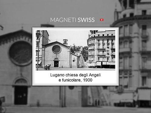 Lugano chiesa degli Angeli e funicolare,1900