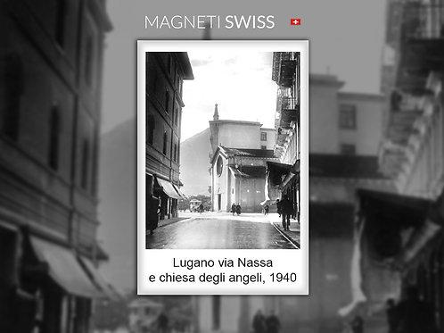 Lugano via Nassa e chiesa degli Angeli, 1940