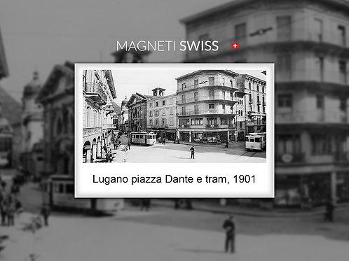 Lugano piazza Dante e tram, 1901