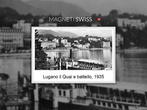 Lugano il Quai e battello, 1935
