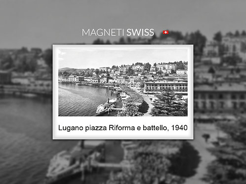 Lugano piazza Riforma e battello, 1940