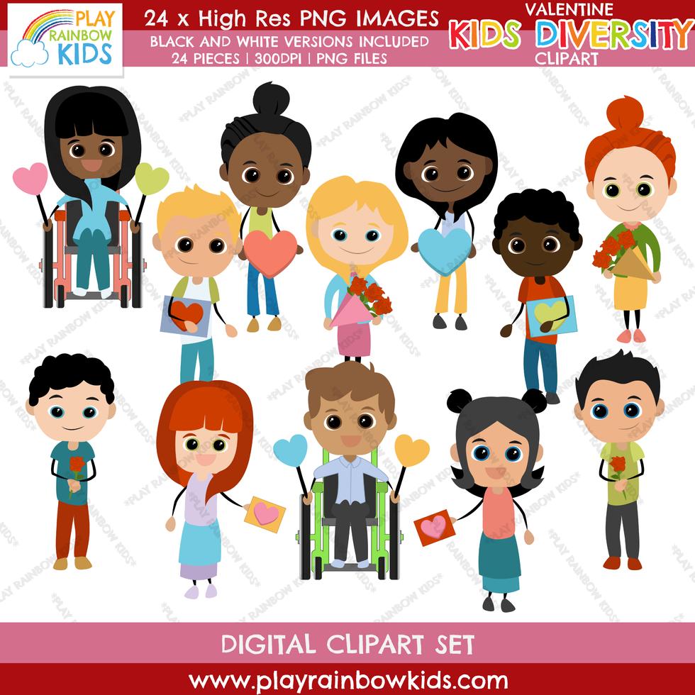 Play Rainbow Kids Valentine's Day Diversity Kids Clipart