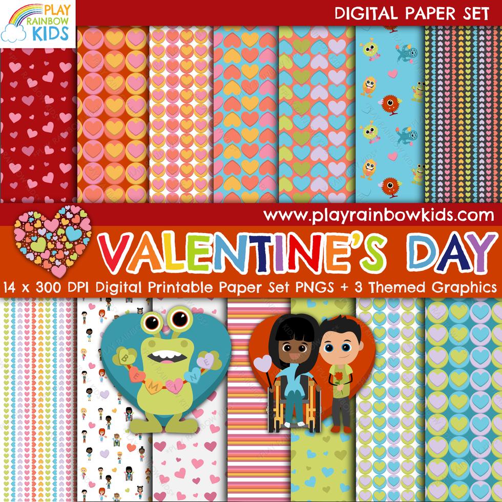 Play Rainbow Kids Valentine's Day Digital Paper