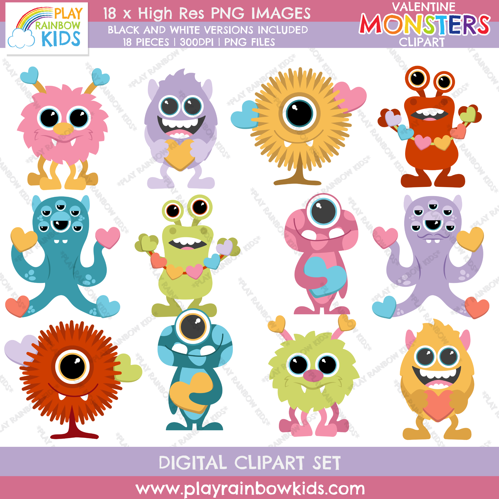 Play Rainbow Kids Valentine's Day Cute Monster Clipart