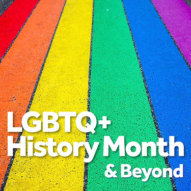 Picture of rainbow coloured stripes with the text LGBTQ+ History Month Tite v900.JPG