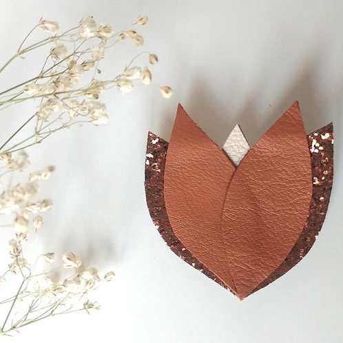 """Broche """"Fleur"""" Camel/Bronze pailleté/Beige clair"""