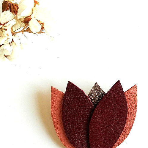 "Broche ""Fleur"" Bordeaux/Rose saumon/Taupe brillant"