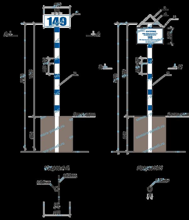 Металический столб знак с козырьком Транснефть