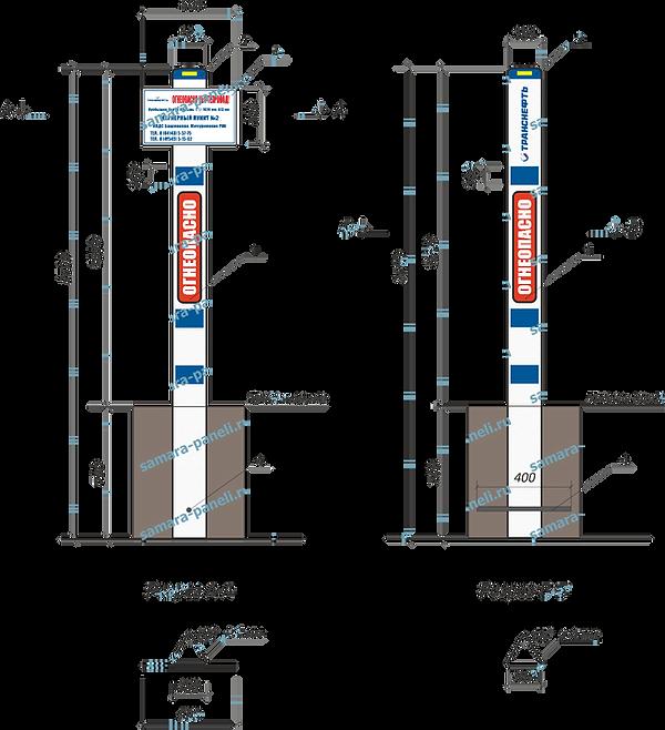 Пластиковый столб знак Транснефть