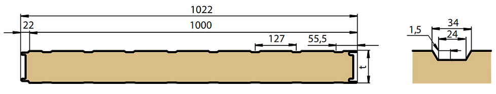 Панель ПСБ с T-образным профилем облицовки