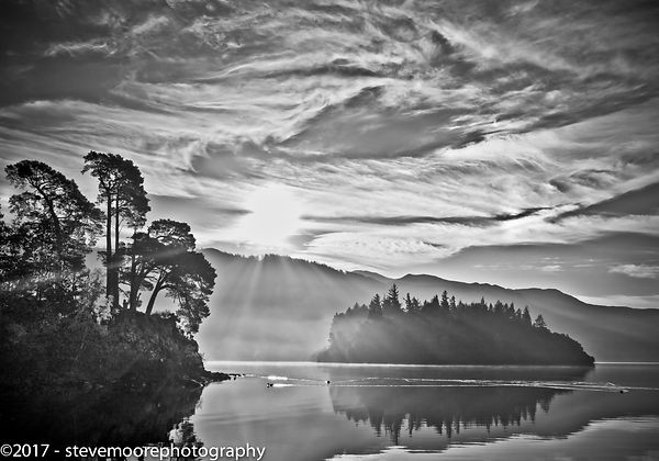 B&W black and white Sky Lake Derwent Water