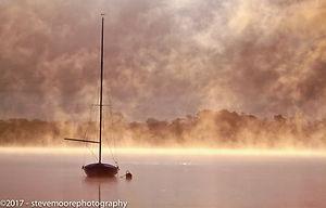 Landscape photography - Boat in the mist - Mystical - Bassenthwaite Lake, Lake District, Cumbria