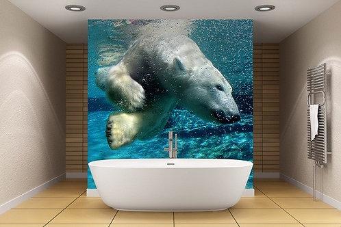 fotomural impresion oso polar baño