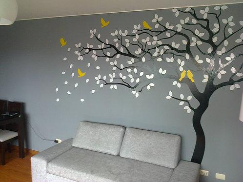 arbol en vinil calado decorativo