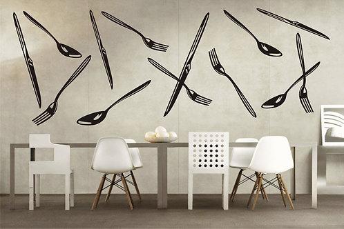 vinilos para cocina de tenedores y cucharas