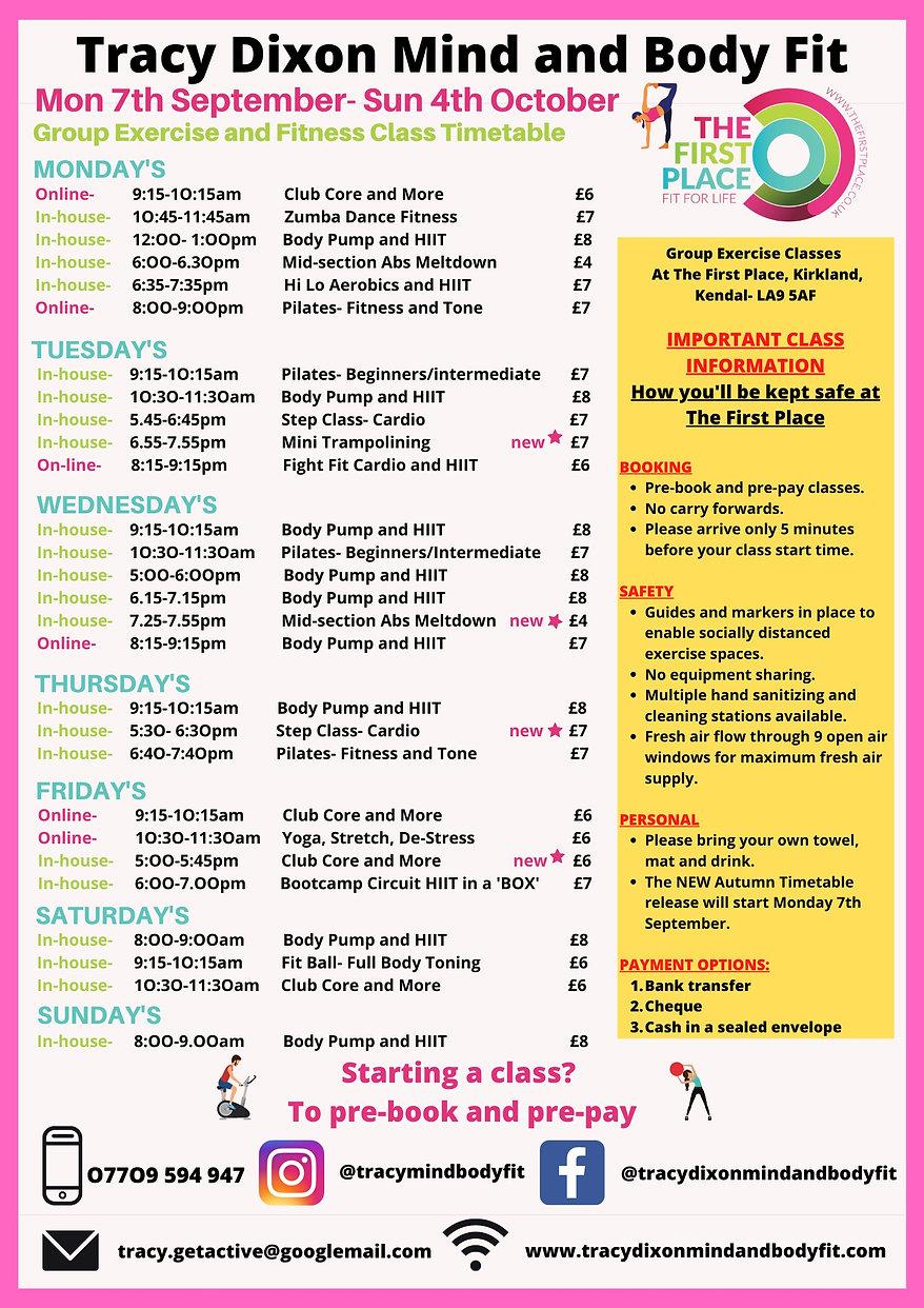 Tracy Dixon September Fitness Class Kend