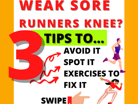 🧡 3 TIPS + EXERCISES TO ✔ AVOID ✔ SPOT ✔ FIX WEAK SORE 'RUNNERS KNEE' 🧡