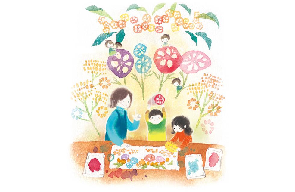 芸術の秋と食欲の秋を絡めて、野菜はんこでお絵かきを楽しむ子どもたちと先生の様子を描かせていただきました。先生方が元気になる、希望が感じられる絵を目指しました。