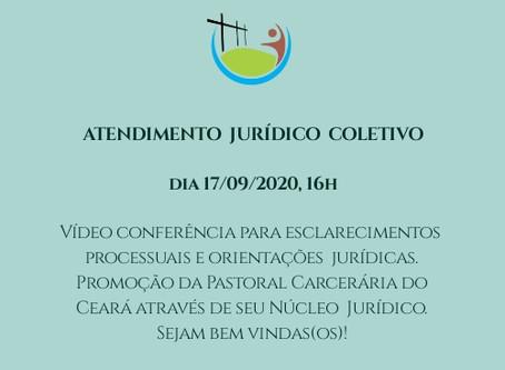 Nesta quinta (17/09) a Pastoral Carcerária do CE promove videoconferência com orientações jurídicas