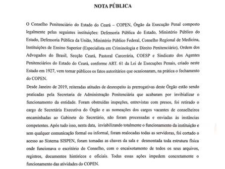 Conselho Penitenciário denuncia 'fatos autoritários' que 'impedem concretamente' seu funcionamento