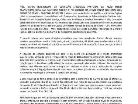 CNBB Regional Nordeste I lança Nota sobre pandemia de Covid-19 no Sistema Carcerário Cearense