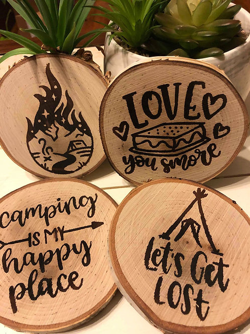 Wood Burned Camping Themed Drinking Coasters