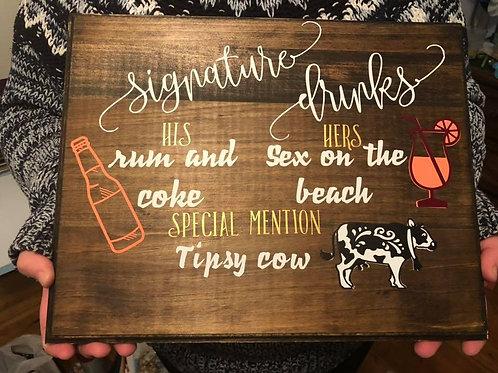 Custom Signature Drinks Sign