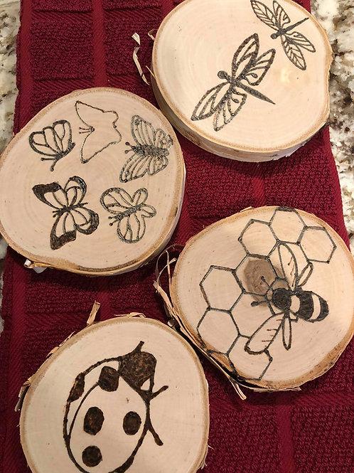 Woodburned Bug themed Drinking Coasters