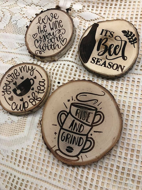 Wood Burned Drinking Themed Coasters for Tea, Coffee, Beer and Wine Lovers