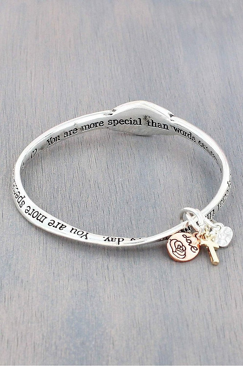 Silver tone Tri-color Mom Bangle