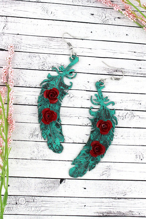 Red Rose Patina Feather Earrings